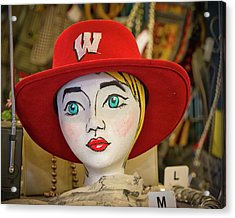Red Hat On Mannequin Head Acrylic Print