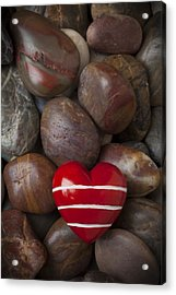 Red Heart Among Stones Acrylic Print by Garry Gay
