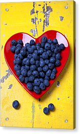 Red Heart Plate With Blueberries Acrylic Print