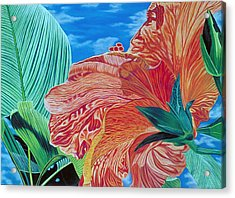 Red Hibiscus And Palms Acrylic Print by Stephen Mack