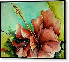Acrylic Print featuring the painting Red Hibiscus by Rachel Lowry