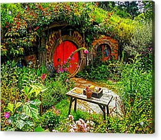 Red Hobbit Door Acrylic Print by Kathy Kelly