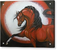 Red Horse Fantasy Acrylic Print by Liz Rose