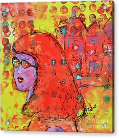 Acrylic Print featuring the painting Red Hot Summer Girl by Claire Bull