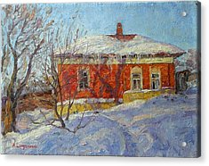 Red House Acrylic Print by Andrey Soldatenko