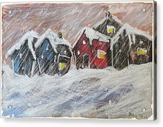 Red House In The Snow Acrylic Print