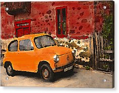 Red House With Orange Car Acrylic Print