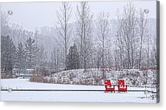Acrylic Print featuring the photograph Red In Snow by Charline Xia