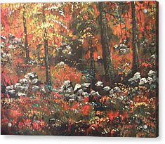 Acrylic Print featuring the painting Red In The Woods by Dan Whittemore