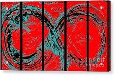 Red Infinity Modern Painting Abstract By Robert R Splashy Art Acrylic Print by Robert R Splashy Art