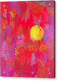 Red Jungle Passionate Sun Acrylic Print by Jennifer Baird