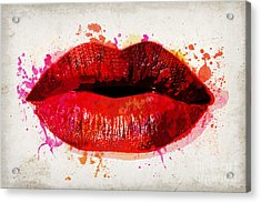 Red Kiss Watercolor Acrylic Print