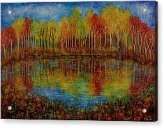 Red Lake. Acrylic Print by Evgenia Davidov