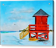Red Life Guard Shack On The Key Acrylic Print by Lloyd Dobson