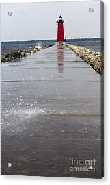 Red Lighthouse Acrylic Print by Tara Lynn