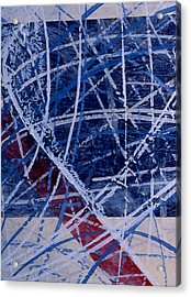 Red Line Blue Line Acrylic Print by Ken Yackel