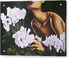 Red Lips White Flowers Acrylic Print by Trisha Lambi