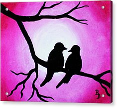 Red Love Birds Silhouette Acrylic Print