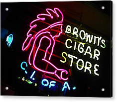 Red Man's Smoke Shop Acrylic Print by Elizabeth Hoskinson