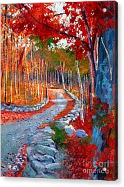 Red Maple Road Plein Aire Acrylic Print by David Lloyd Glover