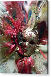 Acrylic Print featuring the photograph Red Mask Of Fun by Amanda Eberly-Kudamik