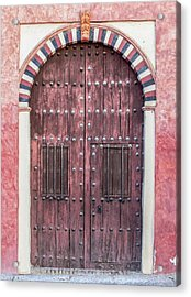 Red Medieval Wood Door Acrylic Print by David Letts