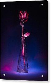 Red Metal Rose Acrylic Print