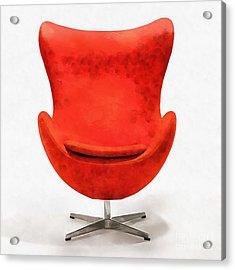 Red Mid Century Modern Chair Acrylic Print by Edward Fielding