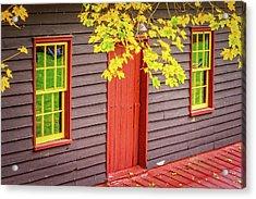 Red Mill Door In Fall Acrylic Print