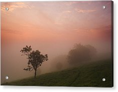 Red Mist On The South Downs Acrylic Print by Hazy Apple