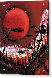 Acrylic Print featuring the painting Red Moon by Jason Girard