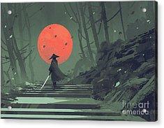 Red Moon Night Acrylic Print