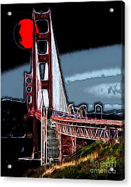 Red Moon Over The Golden Gate Bridge Acrylic Print by Wingsdomain Art and Photography