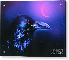 Red Moon Raven Acrylic Print by Robert Foster