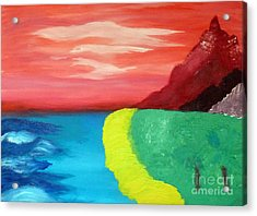 Red Mountain By The Sea Acrylic Print