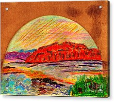 Acrylic Print featuring the painting Red Mountain Utah by Richard W Linford
