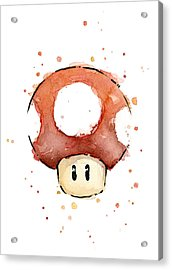 Red Mushroom Watercolor Acrylic Print