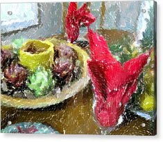 Red Napkins Acrylic Print by Michael Morrison