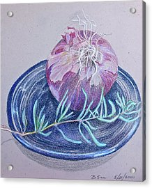Red Onion With Rosemary Sprig  Acrylic Print by Bonnie See