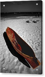 Red Paddle Boat Playa Del Carmen Acrylic Print by Tom Fant
