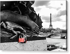 Red Padlocks In Paris Acrylic Print