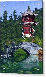 Acrylic Print featuring the painting Red Pagoda by Lynne Reichhart