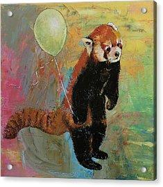 Red Panda Balloon Acrylic Print by Michael Creese