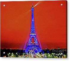 Red Paris Sunset  Eiffel Tower Acrylic Print