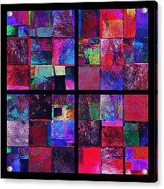 Red Patchwork - Abstract Art  Acrylic Print by Ann Powell