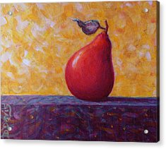 Acrylic Print featuring the painting Red Pear by Dee Davis