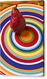 Red Pear On Circle Plate Acrylic Print by Garry Gay