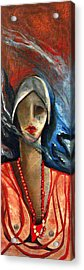 Red Pearls Acrylic Print by Niki Sands