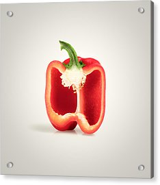 Red Pepper Cross-section Acrylic Print by Johan Swanepoel
