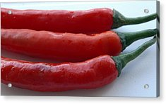 Red Peppers Acrylic Print by Tropical Ties Dominica
